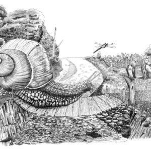 Enorme escargot qui traverse une rivière sur un pont suspendu. Dessin à l'encre de Chine.