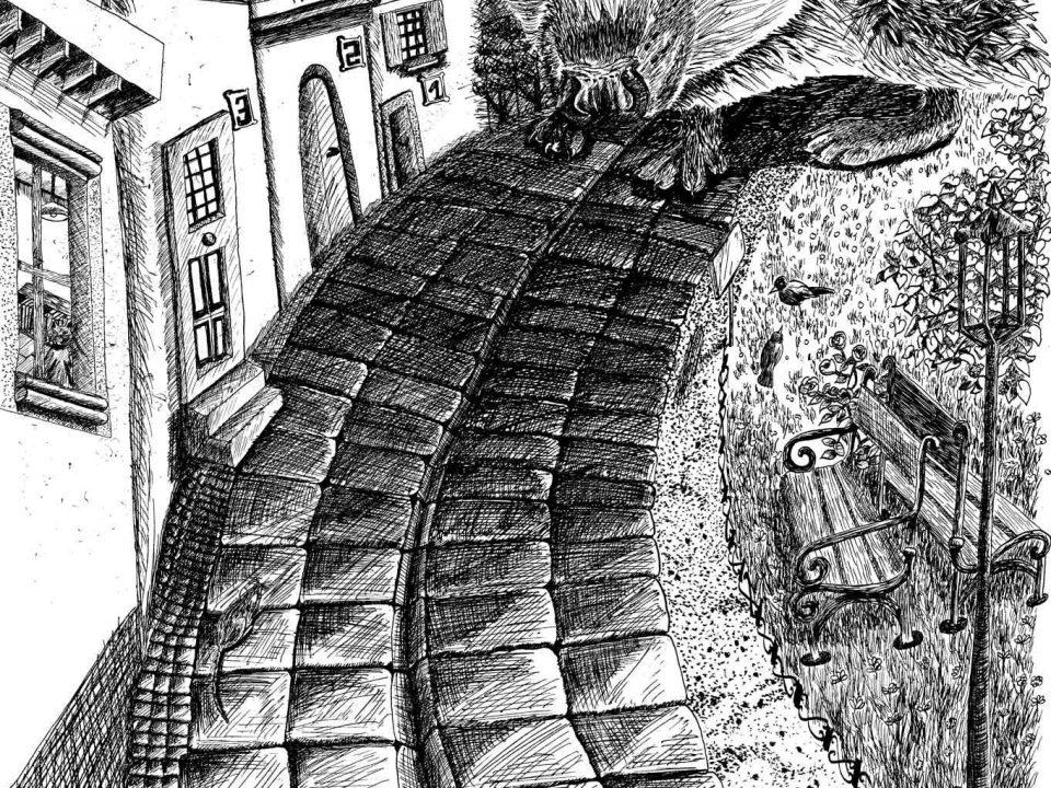 Un énorme hérisson traverse la rue médiévale. Dessin à l'encre de Chine.