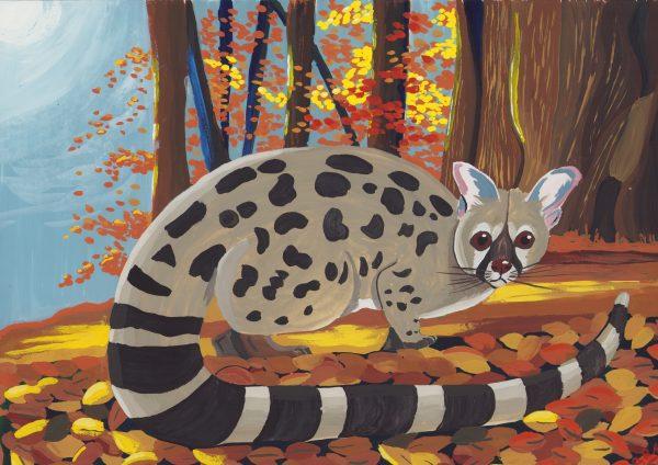 Peinture à la gouache d'une Genette dans une forêt d'automne
